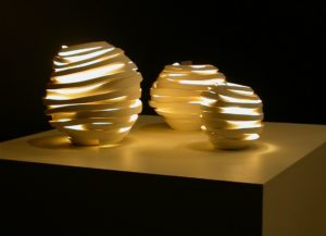 Lights from 'Deconstructed' series by Szilvia György, thrown and cut porcelain, electrical fittings