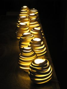 Light from 'Deconstructed' series by Szilvia György, thrown and cut porcelain, electrical fittings