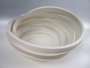 Bowl from 'Deconstructed' series by Szilvia György, thrown and cut porcelain