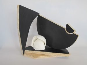 Pirate's Puzzle, Szilvia Gyorgy and James McCallum, 31 x 34 x18 cm, timber, paint, porcelain