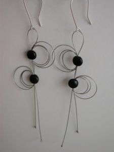 Steel and onyx earrings by Szilvia György