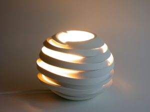 Light from 'Deconstructed' series by Szilvia György, thrown and cut porcelain, electrical fitting